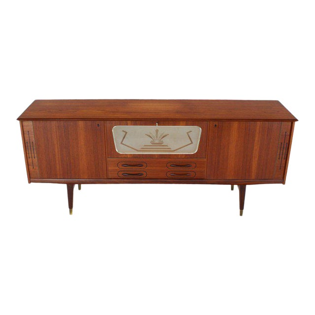 Danish Teak Long Sideboard Credenza With Art Deco Style Etched Glass Insert For Sale