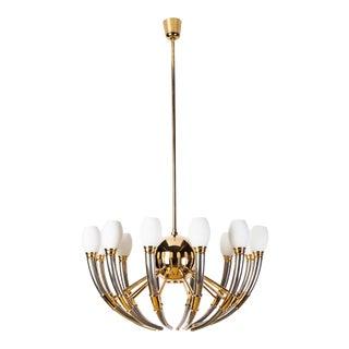 13-Light Silver, Gold & Opal Glass Regency Chandelier