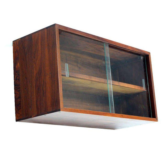 Brown Mid-Century Modern Solid Walnut Hanging Shelf or Bookcase For Sale - Image 8 of 8