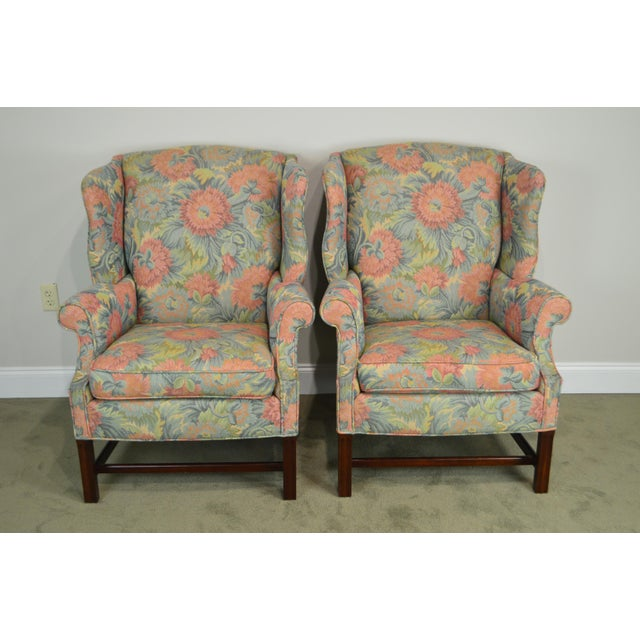 Blue Southwood Chippendale Style Mahogany Frame Floral Upholstered Pair of Wing Chairs For Sale - Image 8 of 13