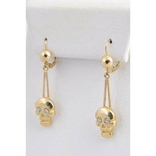 Skull Diamond and Gold Dangle Earrings Preview
