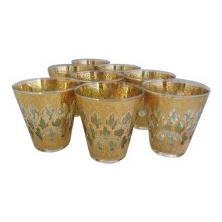 Gold Culver Valencia Rocks Glasses - Set of 8 For Sale