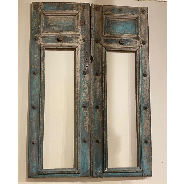 """A Pair of 19th Century French Blue Doors With Good Hardware Each Side Measures 24"""" Wide x 68"""" High"""