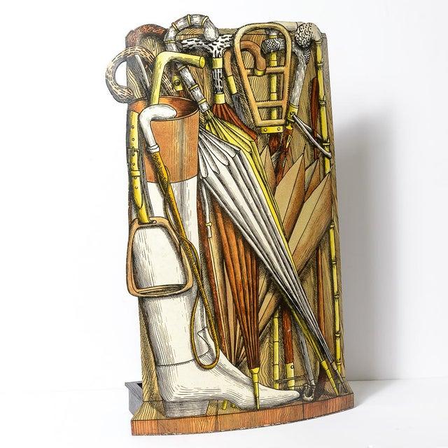 Vintage Piero Fornasetti (1913-1988) Tole Umbrella Stand For Sale - Image 11 of 11