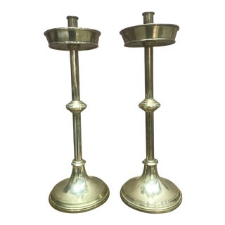 1940s Mid Century Modern Brass Candle Sticks - a Pair For Sale