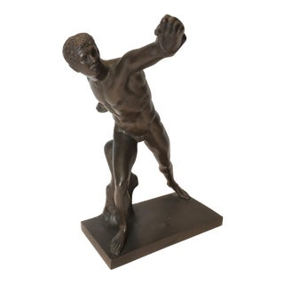 "Early 1900s Solid Bronze ""The Borgese Gladiator"" Sculpture For Sale"