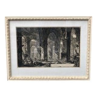 Antique 18th C Piranesi Scenic Castle Engraving Print For Sale