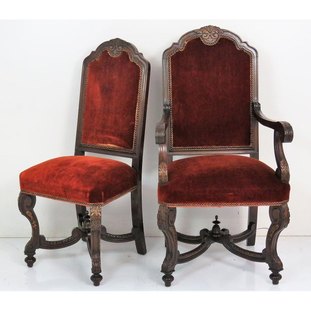 Textile Italian Style Carved Dining Chairs - Set of 6 For Sale - Image 7 of 7