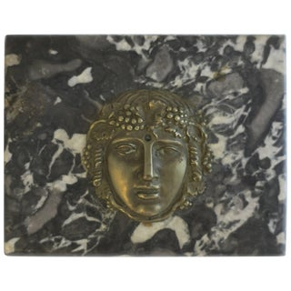 Italian Black and White Marble and Brass Sculpture Decorative Object Paperweight For Sale