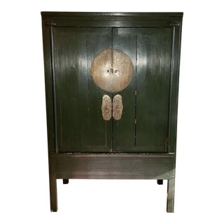 20th Century Asian-Inspired Green Armoire/Media Cabinet