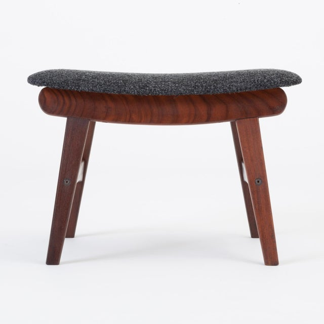 1960s Scandinavian Modern Teak Ottoman With Upholstered Cushion For Sale - Image 5 of 13