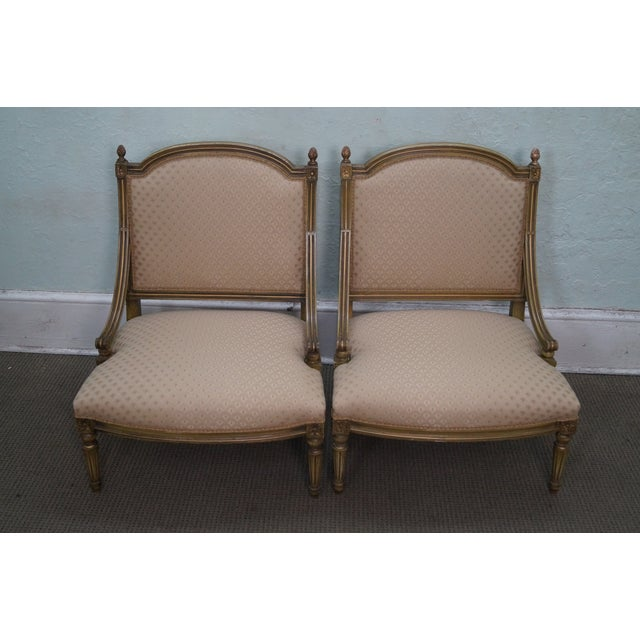 Quality Pair of French Louis XV Style Painted Slipper Chairs AGE/COUNTRY OF ORIGIN: Approx 75 years, America...