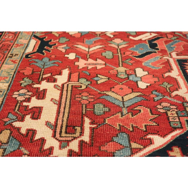 Room Size Antique Persian Heriz Geometric Rug - 11′ × 14′5″ For Sale In New York - Image 6 of 13