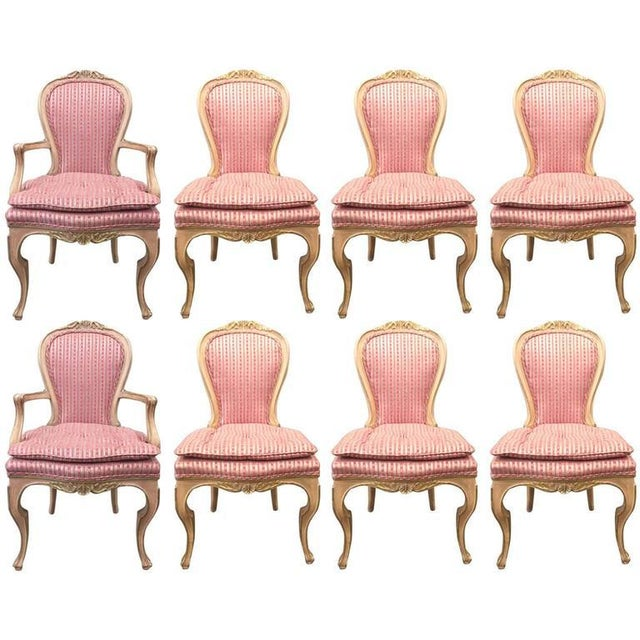 Pink Set of Eight Louis XVI Style Painted Dining Chairs For Sale - Image 8 of 8
