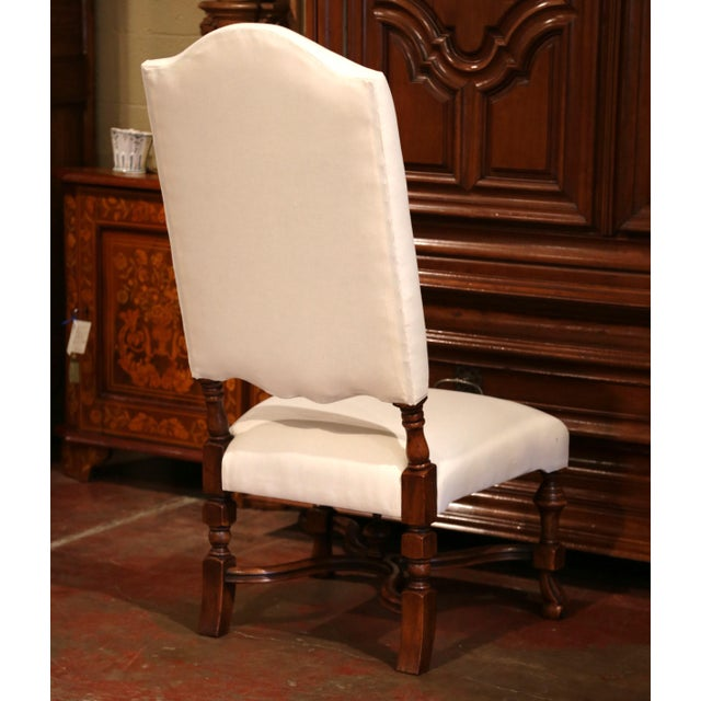 Large French Carved Walnut Dining Room Side Chairs With Arched Top - Set of 10 For Sale - Image 10 of 13