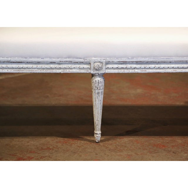 Late 19th Century 19th Century French Louis Philippe Carved and Painted Banquette With Back For Sale - Image 5 of 9