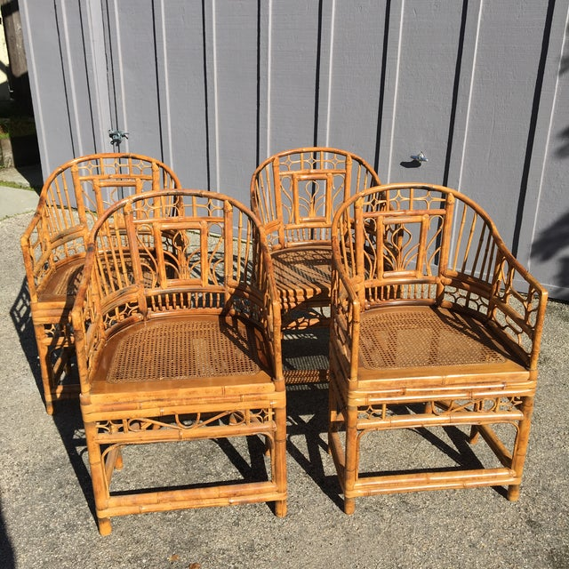 1970s Vintage Brighton Pavilion Bamboo, Ratan and Cane Chairs- Set of 4 For Sale - Image 13 of 13
