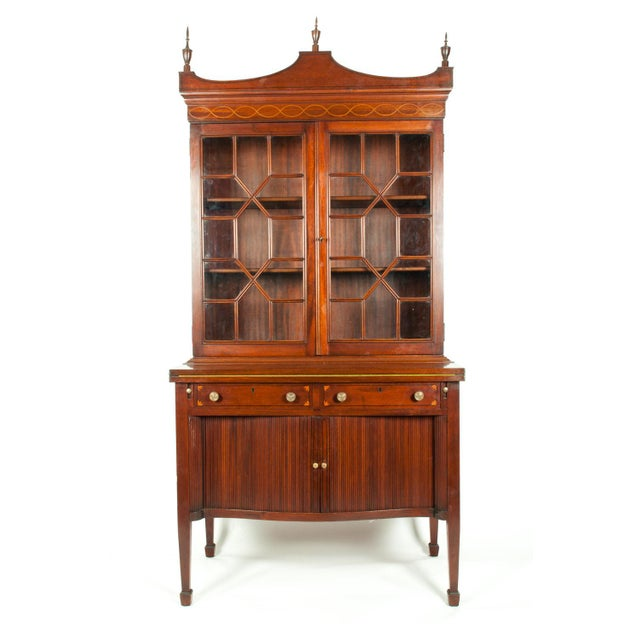 Charak Hand-Carved Mahogany Wood Two Piece Display Cabinet For Sale - Image 13 of 13
