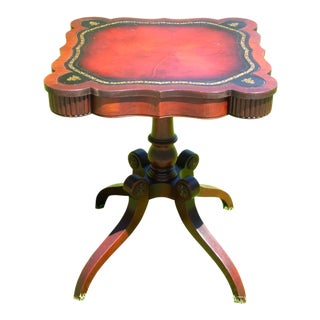Antique L. Scalera Regency Style Mahogany Leather Top Parlor Foyer Tea End Table For Sale