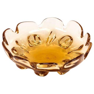 Circa 1950 Murano Glass Amber Bowl For Sale