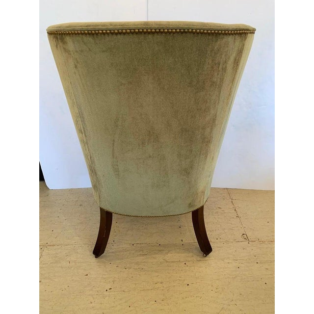 Wood Vintage Tufted Sage Green Velvet Barrel Back Wing Chair For Sale - Image 7 of 12