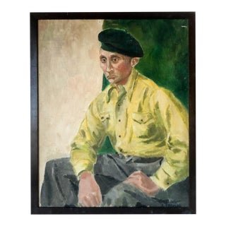 1940s French Portrait of a Gentleman Expressionist Oil Painting, Framed For Sale