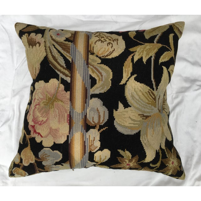 An absolutely stunning pillow made with a vintage needlepoint textile purchased in France at the Broderie de Lille antique...