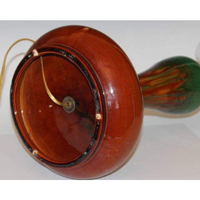 Ceramic Antique Japanese Awaji Pottery Organic Art Nouveau Gourd Form Lamp For Sale - Image 7 of 11