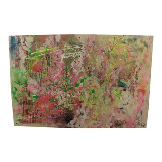 Abstract Acrylic Large Colorful Painting on Board by Don Raph For Sale