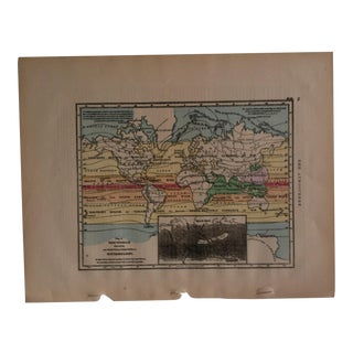 "Antique Geography Map ""The World - Meteorology"" Sheldon & Company 1867 For Sale"