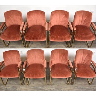 Milo Baughman Style Chromcraft Brass Dining Chairs - Set of 8 Preview