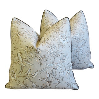"""Italian Scalamandre Aviary Bird & Velvet Feather/Down Pillows 20"""" Square - Pair For Sale"""