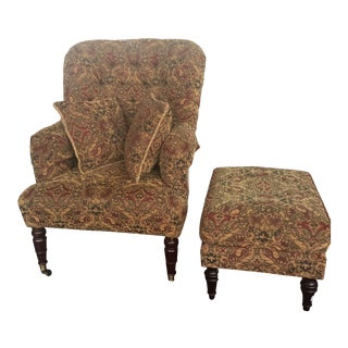 Calico Corners Custom Chair and Ottoman For Sale