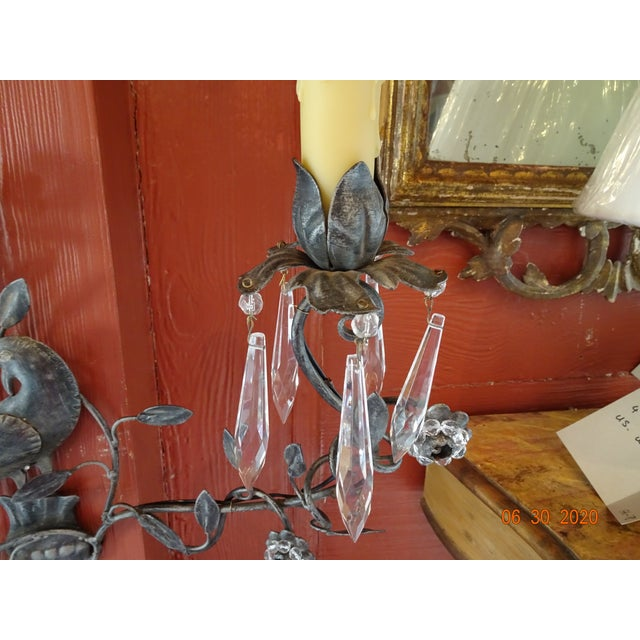 Italian Iron and Crystal Sconces - a Pair For Sale - Image 10 of 13