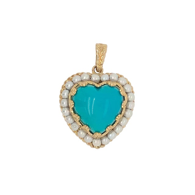 Vintage Persian Turquoise 14k Gold Cultured Seed Pearl Heart Pendant For Sale - Image 4 of 4
