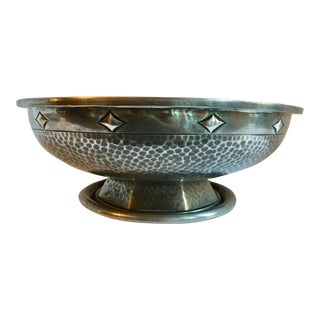 Footed Geometric Detailed Pewter Decorative Bowl
