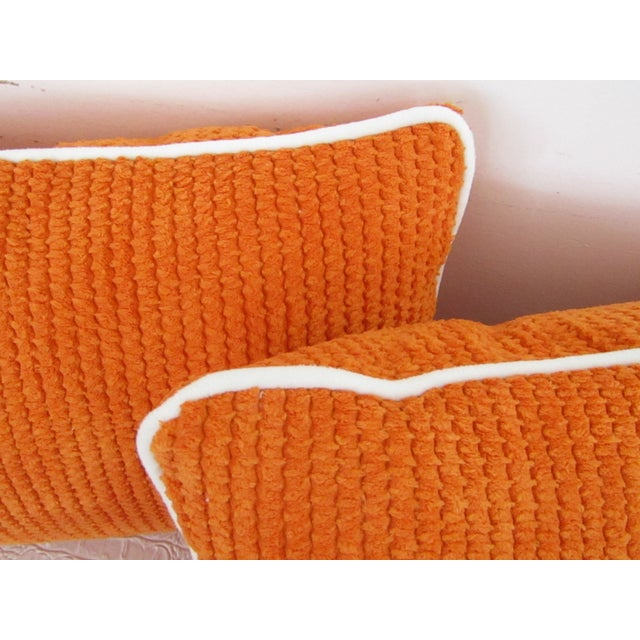 2010s Orange Chenille Lumbar Pillows - A Pair For Sale - Image 5 of 6