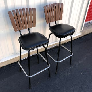 Black Swivel Bar Stools With Faux Wood Seat Backs - A Pair Preview