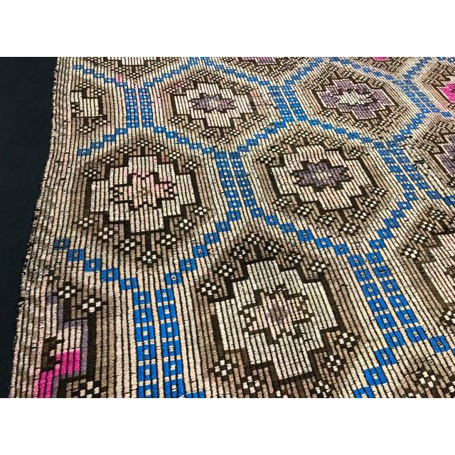 Textile 1960s Vintage Primitive Nomadic Aztec Turkish Traditional Wool Handmade Kilim Rug- 6′ × 8′8″ For Sale - Image 7 of 11