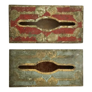 Vintage Destressed Gilt Wood Tissue Boxes - a Pair