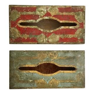 Vintage Destressed Gilt Wood Tissue Boxes - a Pair