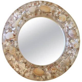 Lucite and Shell Mid-Century Modern Round Mirror For Sale
