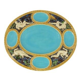 1865 Majolica Turquoise Neptune Platter Minton For Sale