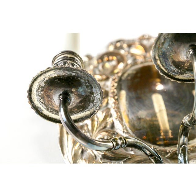 1900s Spanish Silver Shield Triple Candelabra Sconces, Pair (3 Pairs Available) For Sale - Image 5 of 13