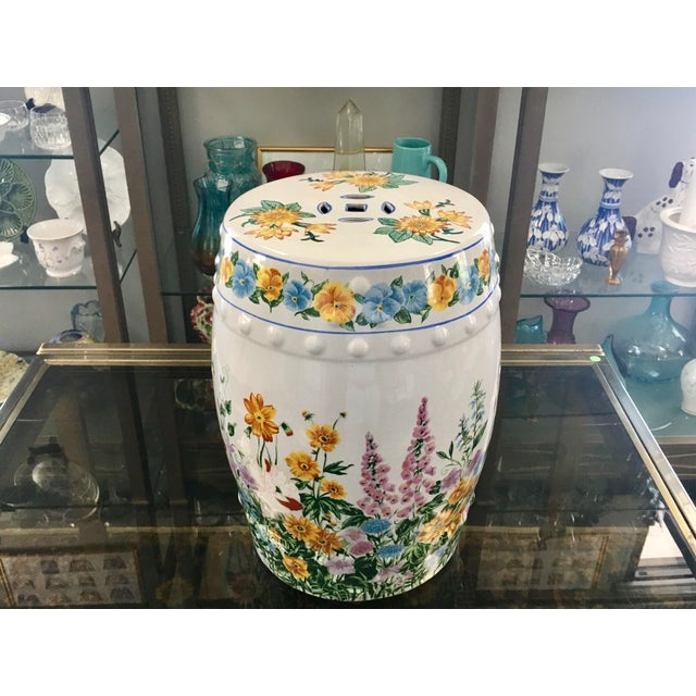 Chinoiserie Floral Garden Seat For Sale - Image 4 of 7
