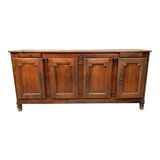 Antique French Louis XVI Four Door Two Drawer Cherrywood Buffet For Sale