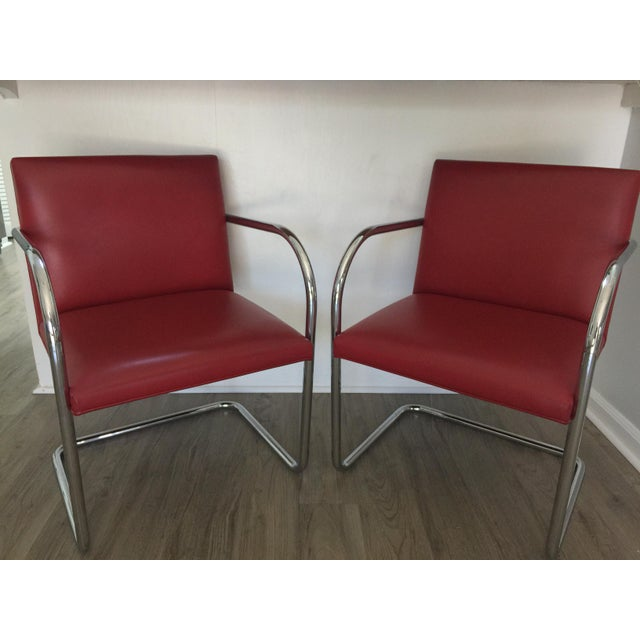 Red Knoll Brno Red Spinneybeck Leather Mid-Century Modern Chairs - a Pair For Sale - Image 8 of 8