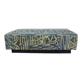 Large African Blue and Natural Ndop Textile Upholstered Ottoman For Sale