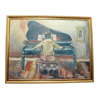 """1990s Original Oil Painting """"Girl With Piano 2"""" by Andrew Turner For Sale"""