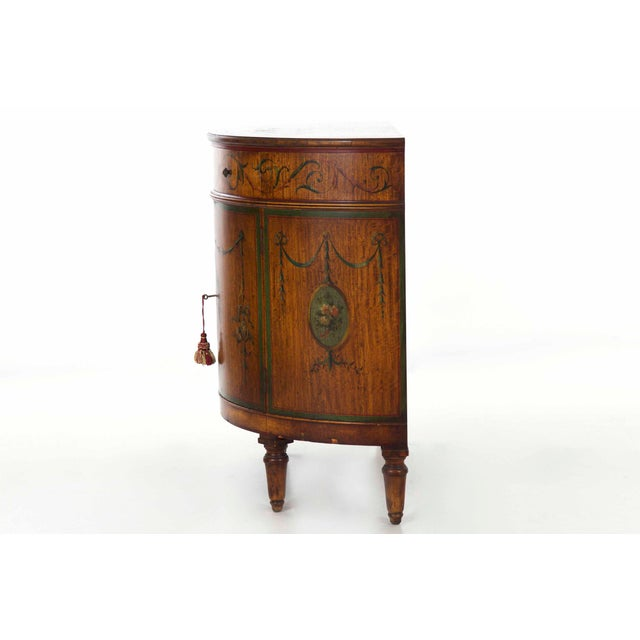 Circa 1930s Adam's Style Finely Painted Antique Demilune Cabinet by William Wholey Co. For Sale - Image 5 of 13